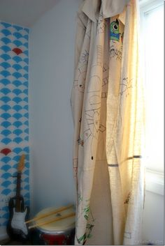 dropcloth curtains  - let your child decorate them, how cool is that!