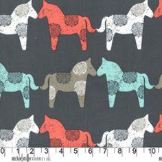 Michael Miller House Designer - Sorbet - Wooden Horses in Gray