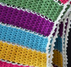 Get an amazing texture with this Jeweled Lattice Crochet Afghan. | AllFreeCrochetAfghanPatterns.com