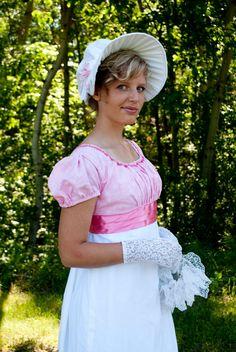 CUSTOM White Regency Jane Austen Day bonnet hat headpiece. $59.95, via Etsy.