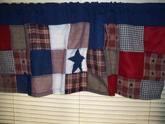 Curtain Toppers Valence Americana Rustic Navy, Burgundy, Cream, Star. $24.00, via Etsy.