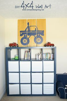 DIY 4x4 Wall Art | recreate this simple but impressive large art work for any boys room! | #homedecor #diy #crafts #4x4 #vinyl #paint #modernnursery #summerinthecity