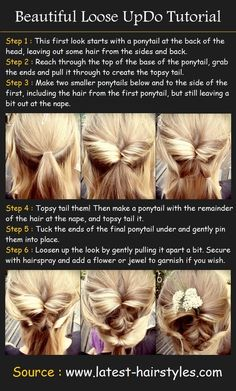 take the top half of your hair and put in a pony then topsy tail it. make that pony into 2 ponies including the bottom hair a little ways away from your neck. topsy tail those and put that into a pony. then topsy that and tuck under. pin ends and pull everything a little loose.