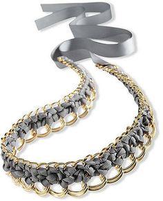 Ribbon & Chain Necklace...could make it a bracelet?