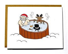 Santa hot tub party