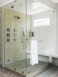 wood look floor tile + mosaic wall