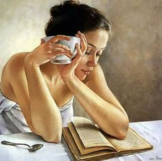Artist: Francine Van Hove {contemporary figurative painter seated woman reading book female face portrait painting} Educated !!