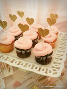 Cupcakes at a Pink Gold Spa Party #pinkgold #spapartycupcakes Gold Glitter, Birthday Parties, 1St Birthday Pink Cupcakes, 1St Bday, Spa Parties, Pink Gold, Parties Ideas, Bridal Shower, Pink And Gold Cupcake