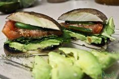 I LOVE this!! #lowfat #raw #vegan #yum Quick & Easy Portobello Sandwich