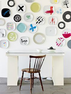 dishes on the wall
