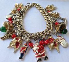 Charm bracelet Christmas  jewelry  charms    by pinkflamingo61, $34.00