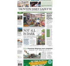The front page of the Taunton Daily Gazette for Friday, Sept. 12, 2014.