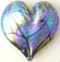 SIGNED Art Glass Iridescent Heart Paper Weight
