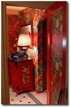 Red Floral Painted Room, Keywords: Primitive Decorating, Primitive Furniture Ideas, Early American Decorating,Americana Antiques, Lodge Decorating, Cabin Decorating, Tartan, Ralph Lauren Home, Rustic Furniture, Distressed Furniture, Painted Furniture