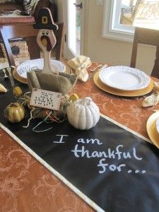 The Scribble Linens version of the Target chalkboard table top for Thanksgiving!   Get a chalkboard table runner now!  www.ScribbleLinens.com $40 #ChalkboardThanksgiving #Chalkboard #ChalkboardTableRunner #MyKindofHoliday