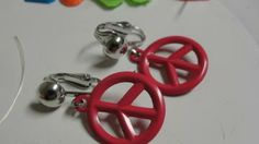 Pink Metal Peace Sign Dangle Clip Earrings by Mackymac for $5.39 #zibbet