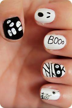 nail halloween, halloween makeup, ghost nail, nails halloween, halloween eyes, nail idea, holiday nail designs, halloween nail designs, halloween nails