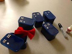 Doctor Who party - bow ties and TARDIS gift box