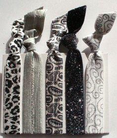 SnowLeopard Glitz Hair Tie 5 Pack - Sassy Knots | Hair Ties and Headbands *Free Shipping (Great Stocking Stuffers )