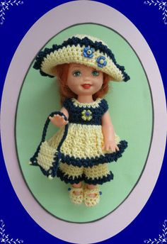 """Crochet Doll Clothes Navy Flowers Kelly for 4 ½"""" Kelly Same Sized Dolls"""