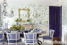 The chairs, the wallpaper, the glossy blue door...  *swoon*