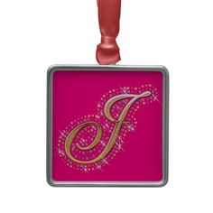 Pink Ornament with Initial J