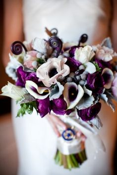 purple, white and silver bouquet