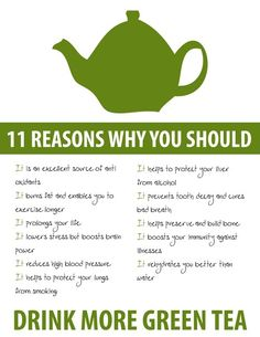 why we should drink more green tea. It has really helped me lose weight a couple times w/o even really trying. I just was drinking a lot of green tea and happened to notice both times I lost weight. I looked it up and it can help you lose weight.:)