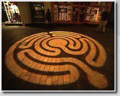 Projected light labyrinth,  Cork, Ireland  Photo ©: Jeff Saward/Labyrinthos