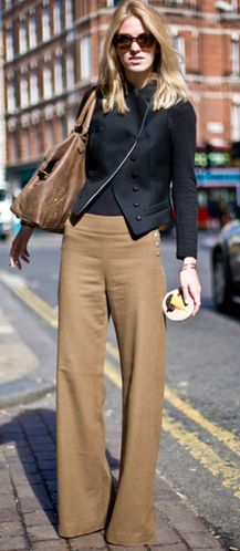 Khaki wide-leg trousers - love this wide legged pants look! We have more on www.gotoGreaterLengths.com