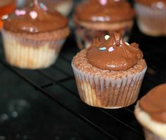 Black & White Cupcakes with Chocolate Buttercream (One of the best buttercreams I've ever made!)