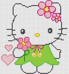 pink flowers, hello kitti, pattern, crossstitch, punto croce, crosses, punto de cruz, cross stitches, hello kitty
