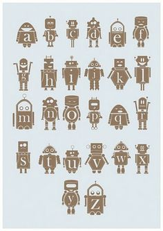 awesome :D   alphabet print for the robot room!