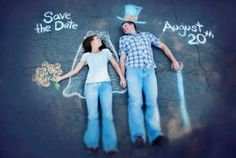 Save the Date Cards stuff, save, dream, wedding ideas, dates, chalk drawings, sidewalk chalk, engag, photographi