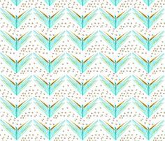 Feather Chevron in Blues fabric by emilysanford on Spoonflower - custom fabric