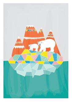 Polar Bears Art Print Animal Illustration Geomery Children decor, Kids Room, Wedding Birthday Anniversary Gifts Pastel Color
