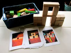 building a block castle with aid of step-by-step picture cards skills practiced: following directions, spatial and shape awareness, fine motor