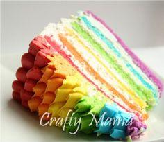 Ruffle Top Rainbow Cake | :) Crafty Mama -- perfect for my girls upcoming rainbow birthday party!