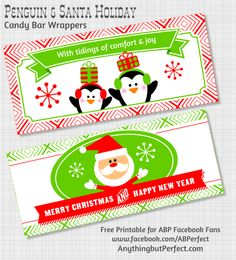 {Free Printable} Holiday Candy Bar Wrappers