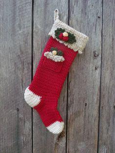 Holly Pocket Cranberry Christmas Stocking by MyClinchMountainShop, $34.00