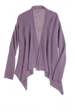 Nuna Solid Cashmere Cardigan in Dusty Purple