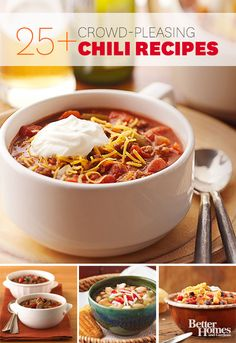 Whip up a bowl of irresistible chili for dinner tonight! Check out our tasty chili recipes: http://www.bhg.com/recipes/chili/chili-recipes/?socsrc=bhgpin102713chilirecipes