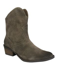 This Taupe Havoc Suede Cowboy Bootie by Naughty Monkey is perfect