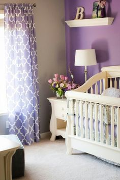 Nursery Purple (like the one color on the wall and re-used in curtain, everything else natural)
