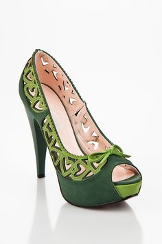 love - green heart shapes shoes