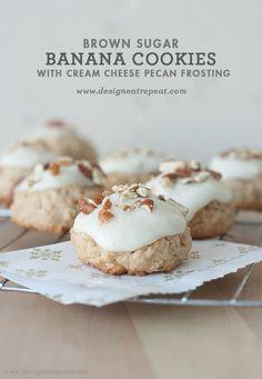 Brown Sugar Banana Cookies with Cream Cheese Pecan Frosting - Design. Eat. Repeat.