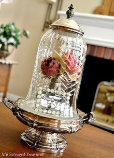 Old cut glass shade becomes a cloche.