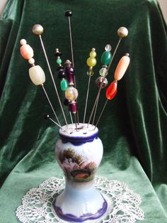 Antique Nippon Hand Painted Hat Pin Holder