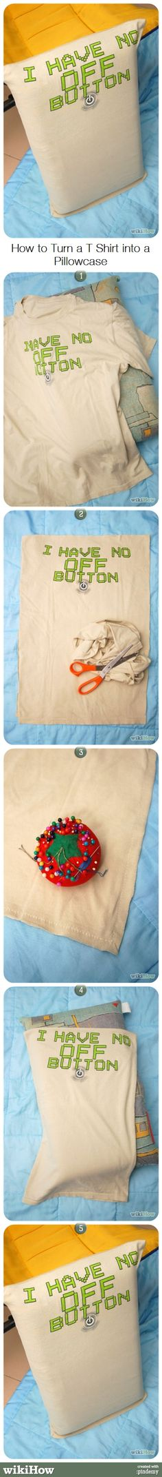 How to Turn a T Shirt into a Pillowcase #upcycle #repurpose #recycle #oldshirt #home