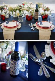 Patriotic table setting. #wedding #inspiration